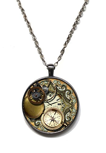 [Victorian Vault Steampunk Gears Gothic Pendant on Chain (4) (39 Clock Gears)] (Steampunk Gypsy Costume)