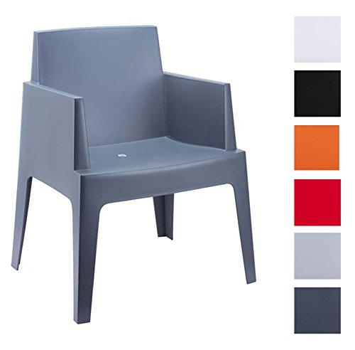 CLP-Design-Bistrostuhl-Gartenstuhl-BOX-Kunststoff-stapelbar-wasserabweisend-UV-bestndig-dunkelgrau