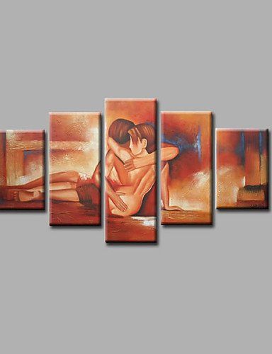 FW@ Ready to Hang Stretched Hand-painted Oil Painting on Canvas Wall Art Abstract Contempory Nude Lover Five Panels
