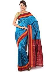 Pure Silk Kanjeevaram Hand Women Saree-Blue-SLV37-VS-...