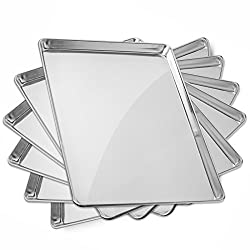Gridmann 18 x 26 Commercial Grade Aluminium Cookie Sheet Baking Tray Pan Full Sheet - 6 Pans