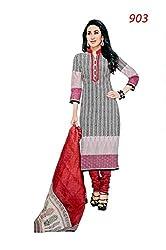 Pandadi Creation Women's Cotton Untitched Salwar Suit Pcs Dress Material with Cotton Dupatta