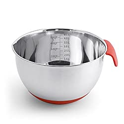 Daixers Stainless Steel Non-Slip Mixing Bowls With Measurements & Silicone Handles,- 5QT/4.5L