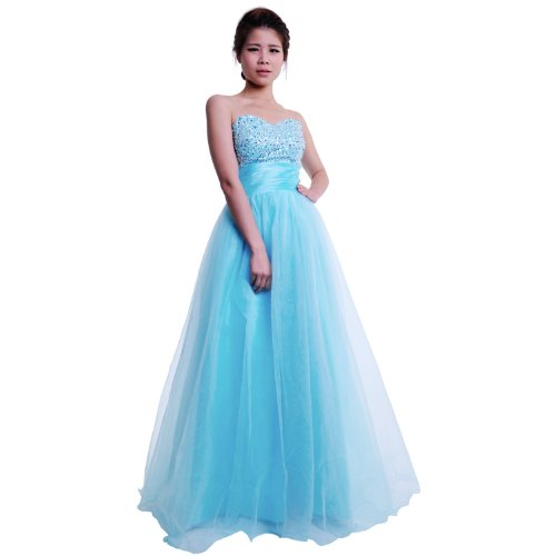 Moonar Chiffon Strapless Sweetheart Paillette A Line Prom Formal Gown Party Bridesmaid Wedding Dress Blue Size 12