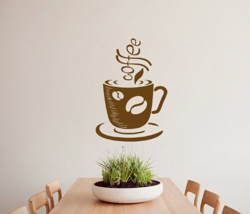 Housewares Vinyl Decal Coffee Cup Home Wall Art Decor Removable Stylish Sticker Mural Unique Design For Room Bakery Cafe Kitchen front-561806