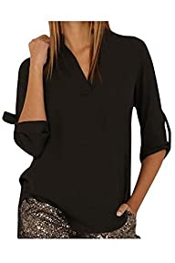 HIMONE Womens Blouses V Neck Cuffed…