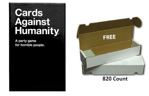 Cards Against Humanity with FREE Storage Box 8.2 Count (to keep main game and expansions together)