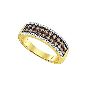 14kt Yellow Gold Womens Round Cognac-Brown Colored Diamond 2-row Band Fashion Ring (.75 cttw.)