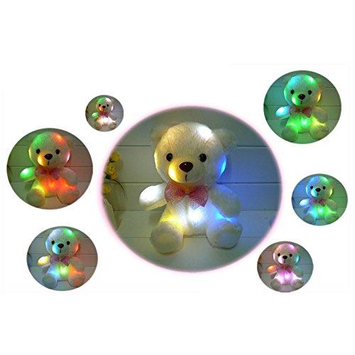 Creative Teddy Bear Doll Colorful LED Glow Luminous Plush Stuffed Toy Birthday Valentines Gift 8.6″