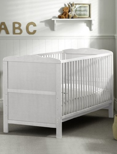 Saplings Kirsty Cot Bed in Classic White inc. Foam Safety Mattress