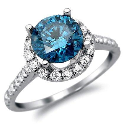 1.90Ct Blue Round Diamond Halo Engagement Ring 18K White Gold