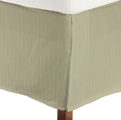 "King Size 400 Thread Count 100% Egyptian Cotton Tailored Bedskirt Fitts Upto 17"" Drop Striped -Taupe Created By Fantasy Nap"