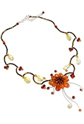 "NOVICA 17.0"" Beaded Choker with Citrine and Carnelian Stone on Stainless Steel, 'Fire Flower'"