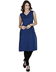 Manmandir Cotton Block Print Casual Readymade Kurti Blue Colour