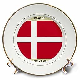 3dRose cp_210446_1 Flag of Denmark Porcelain Plate, 8\