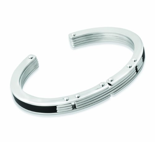 Unique Men Stainless Steel Bangle with Rubber