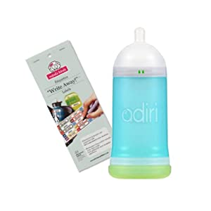 Adiri NxGen Stage 1 (9.5 oz) Nurser with Self Laminating Bottle Labels, 3 - 6 Months, Option 1