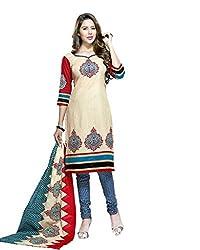 Cream Cotton Printed Dress Material