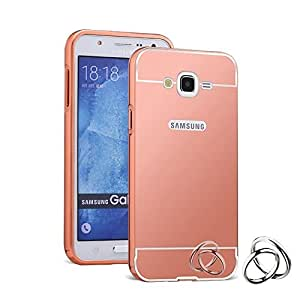 Aart Luxury Metal Bumper + Acrylic Mirror Back Cover Case For Samsung G530 RoseGold+ Flexible Portable Mount Cradle Thumb OK Designed Stand Holder