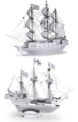Metal Earth 3D Laser Cut Steel Models - Black Pearl Ship AND Golden Hind Ship = SET OF 2