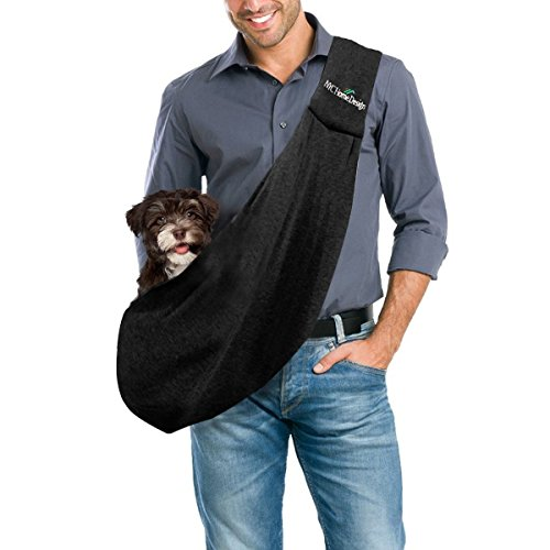 Pet Carrier Bag by FurryFido. High Rated, Safe, Comfortable, Machine Washable, Reversible Dog, Pet, Cat Sling for Large and Small Pets. Bring Your Pet Along in the Best Dogs Accessories. Black