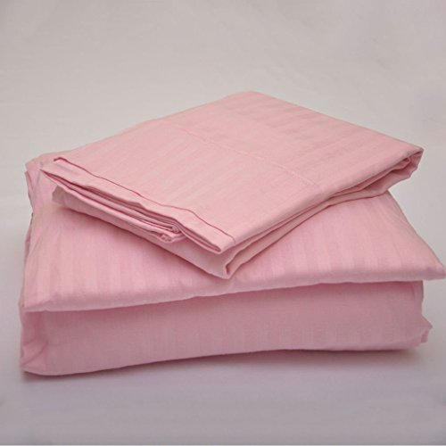 Sleepwell Bedding Luxury Egyptian Cotton 500-Thread-Count Sateen 4 PCs Full-XL Sheet Set (+16 Inch) Pocket Depth, Pink Stripe