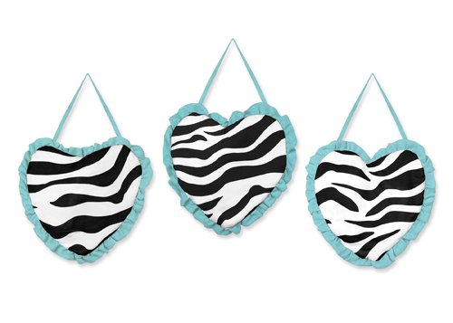 Turquoise Funky Zebra Wall Hanging Accessories By Sweet Jojo Designs front-227974