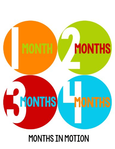 Months in Motion 290 Baby Month Stickers for Newborn Boy Red Blue Orange