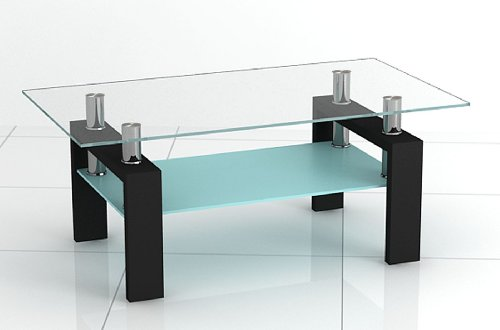 New Rectangular Clear  &  Frosted Glass Coffee Table with Black Legs