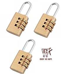 EGK 3 Digit Brass Resetable Lock Set of 3