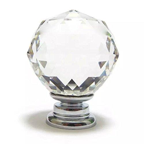 DECOOL (TM) 6x 40mm Diamant Diamond Kristall klar Glas Möbelknopf Möbelknöpfe Möbelgriffe Möbelknauf Griff Knopf günstig bestellen