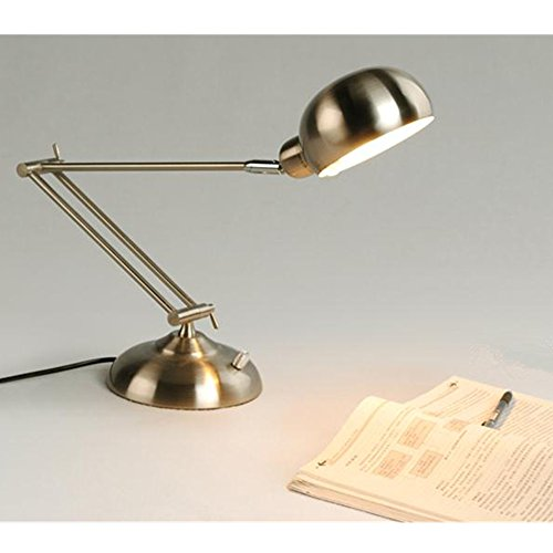 Hitop Led Light Reading Bedside Light,Metal Desk Lamp Bedroom Writing Table Lamps,Silver(White Light) front-193379
