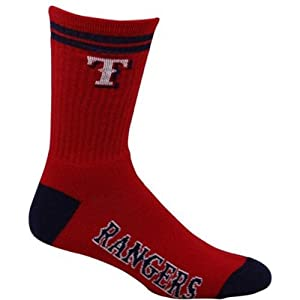 Texas Rangers 2 Stripe Team Logo Baseball Crew Socks Mens Large 10-13 by For Bare Feet