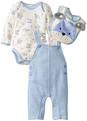 Vitamins Baby Baby-Boys Newborn Plush Puppy 4 Piece Fleece Overall Set, Blue, 3 Months back-930177