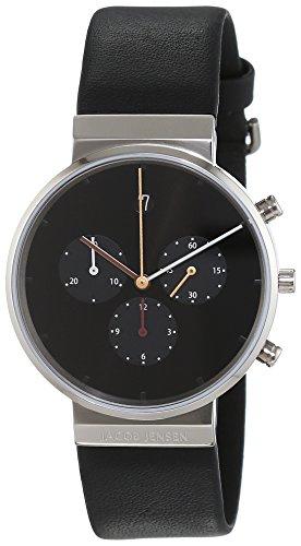 JACOB JENSEN - JACOB JENSEN ITEM NO.: 603 - Montre Homme - Quartz - Analogique - Chronomètre - Bracelet cuir noir
