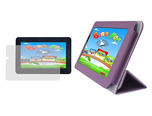 iShoppingdeals – Purple PU Leather Folio Cover Case and Clear Screen Protector for SuperSonic 7″ Internet Tablet SC-1007JB