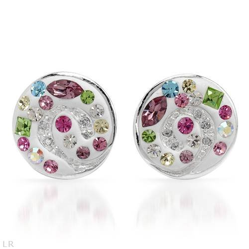 Earrings With Genuine Crystals Beautifully Designed in White Enamel and 925 Sterling silver