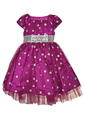 Jona Michelle Girl'S Holiday Dress- Fuchsia-Silver Dot (2T) front-1075233