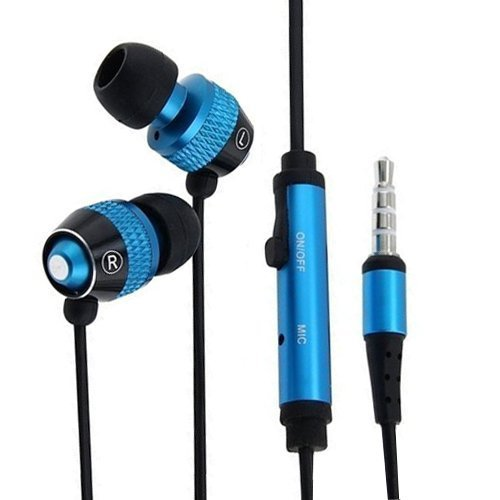 Importer520 3.5Mm In-Ear Stereo Headset W/ On-Off & Mic For Samsung Galaxy S4 S 4 Active I537 I9295 - 2 Tone Black+Blue