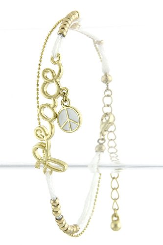TRENDY FASHION PEACE CHARM STRING BEAD BRACELET BY FASHION DESTINATION | (White) at Amazon.com