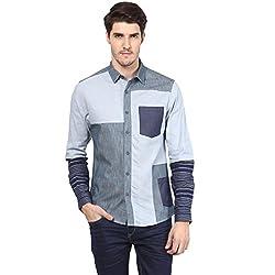 Atorse Mens Cut and Sew Multi Shade Blue Casual Shirt