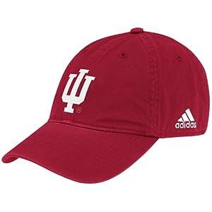 Buy NCAA adidas Indiana Hoosiers Basic Logo Slouch Adjustable Hat - Crimson by adidas