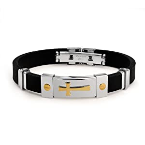 Bling Jewelry Mens Gold Plated Cross Black Rubber Bracelet Stainless Steel Clasp from Bling Jewelry