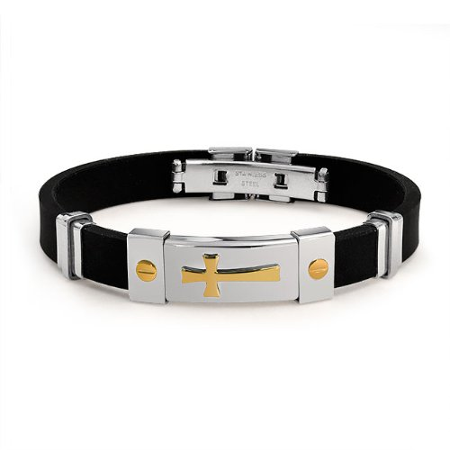 Bling Jewelry Mens Gold Plated Cross Black Rubber Bracelet Stainless Steel Clasp