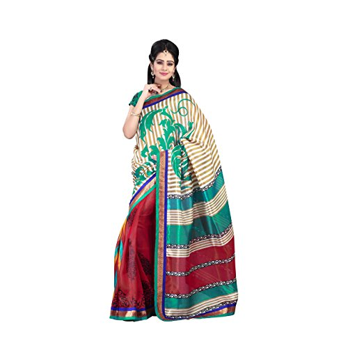 Aesha Silk Blend Printed Saree With Matching Blouse