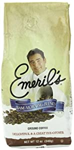 White Coffee Ground Coffee, Emeril's Bam Morning Blend, 12 Ounce