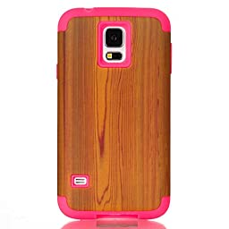 JNTworld Shockproof Hybrid Protective Hard Case for Samsung Galaxy S5 Wood Simulation Pattern Cover , Rose&carmine