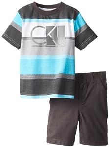 Calvin Klein Boys 2-7 Toddler Crew Neck Stripes Tee with Shorts by Calvin Klein