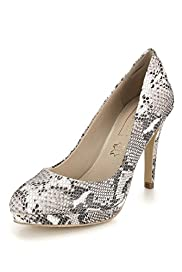 Autograph Leather Faux Snakeskin Print Platform Court Shoes with Insolia