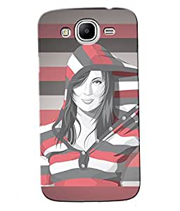 Fuson Multi lines Pattern Girl Back Case Cover for SAMSUNG GALAXY MEGA 5.8 - D3880